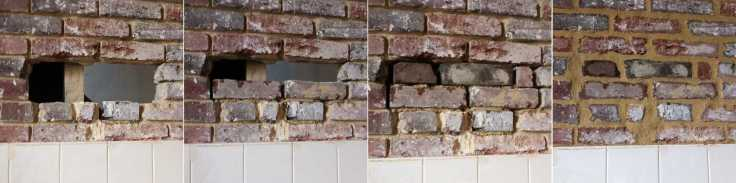 Trou mur brique