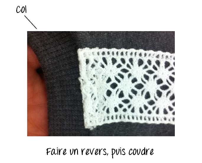 sweat dentelle diy