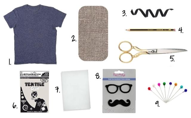 DIY T-shirt Moustache Panama - fournitures