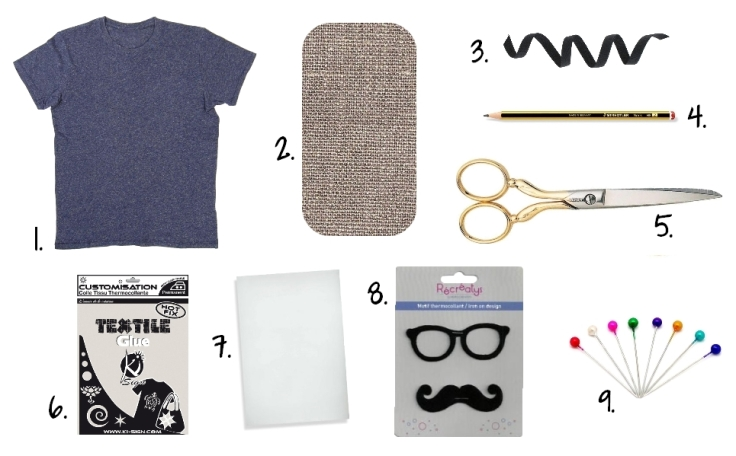 DIY T-shirt Moustache Panama - fournitures