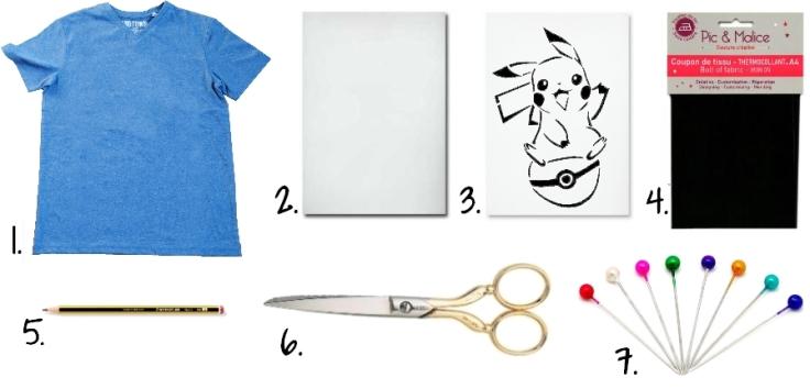 DIY T-shirt Pikachu - fournitures