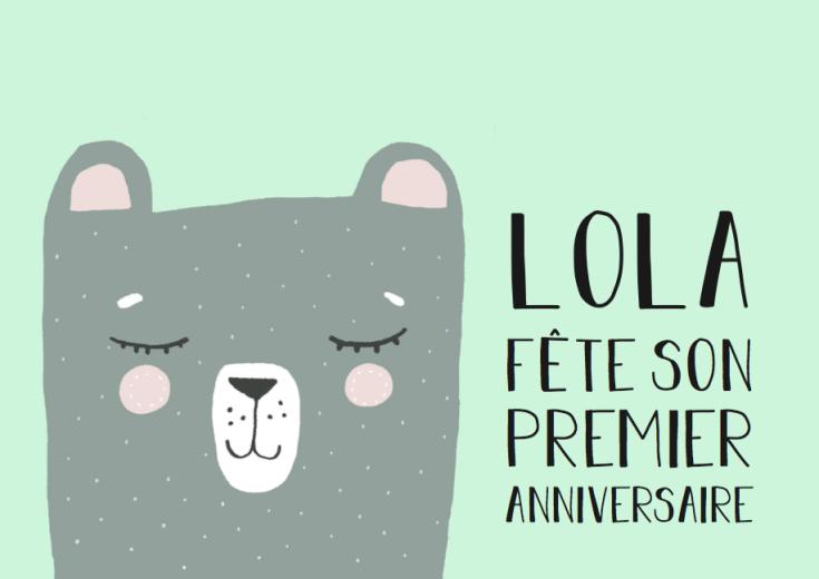 Invitation anniversaire Lola