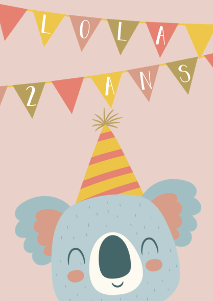 Organiser anniversaire 2 ans - invitation Lola