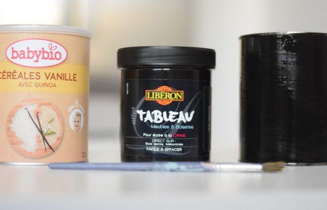Recycler boites de lait peinture tableau noir craie 01