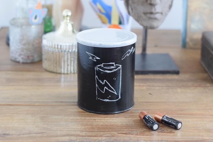 Recycler boites de lait peinture tableau noir craie 03