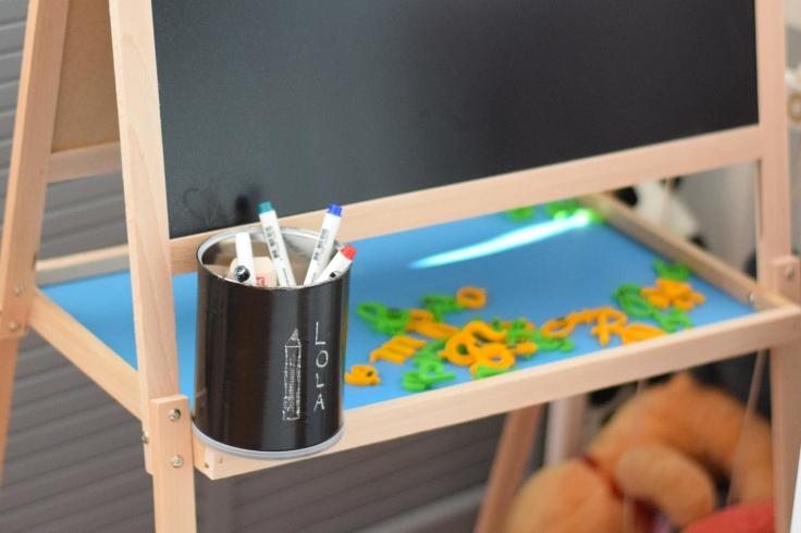 Recycler boites de lait peinture tableau noir craie 04