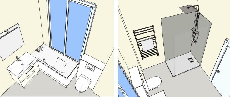 Inspiration salle de bain carrelage zellige - 3D
