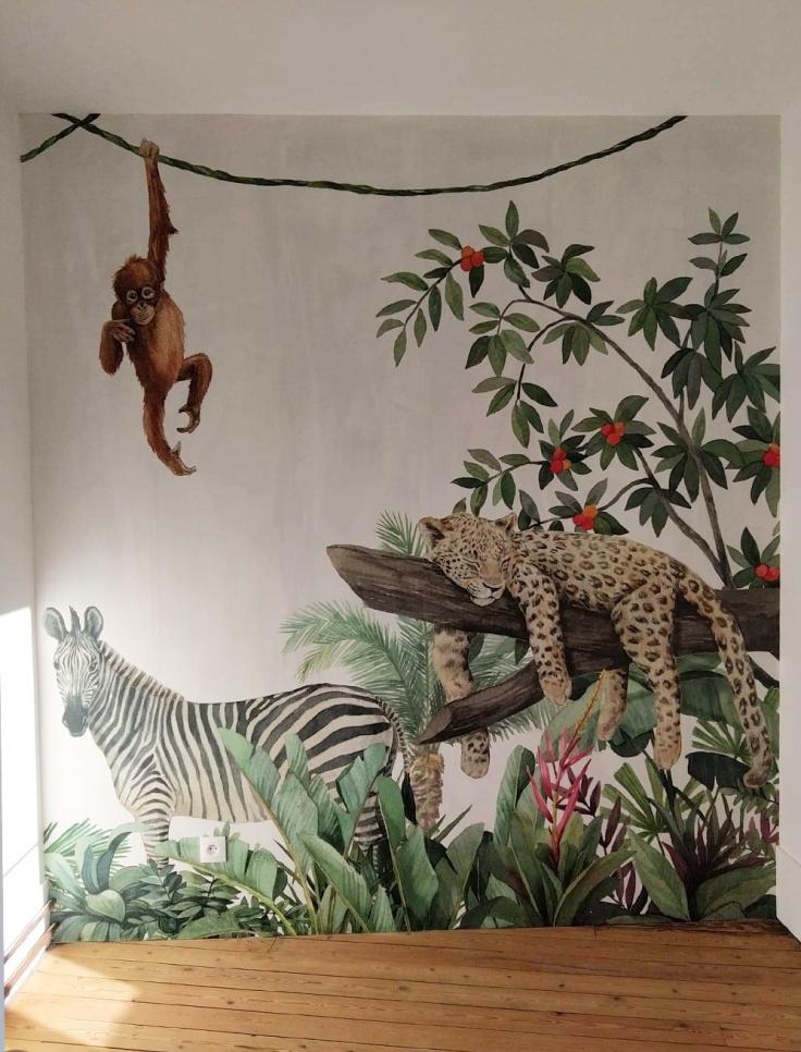 Chambre jungle papier peint - après 04